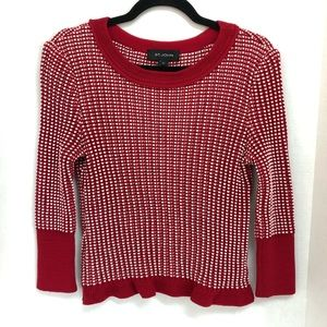 ST. JOHN | RED & WHITE RIBBED KNIT TOP SWEATER | M